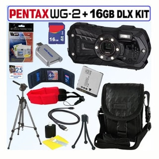 Pentax Optio WG-2 16MP Waterproof Black Digital Camera with 16GB Kit