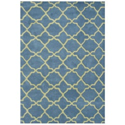 Alliyah Handmade Aqua New Zeeland Blend Wool Rug (9' x 12')