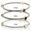 Two-tone Round Crystal Twist Wrapped Bangle Bracelet
