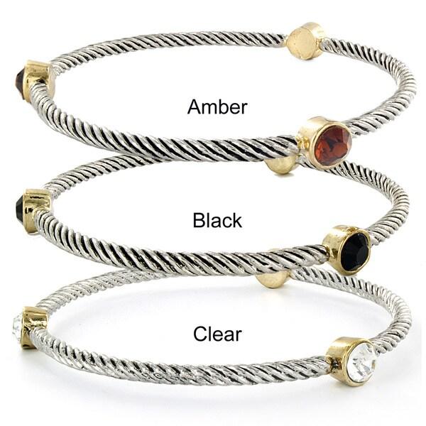 West Coast Jewelry Two-tone Round Crystal Twist Wrapped Bangle Bracelet