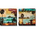 Charlie Carter 'Ocean Avenue and Beach Culture' 2-piece Canvas Art Set