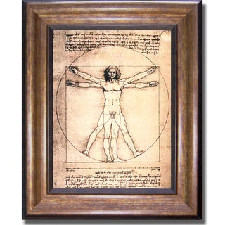 Leonardo da Vinci 'Vitruvian Man' Framed  UV-Coated Canvas Art
