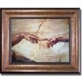 Michelangelo 'Creation of Adam (Detail)' Framed Canvas Art