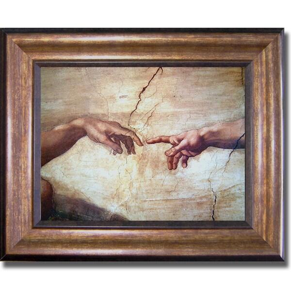 Michelangelo 'Creation of Adam (Detail)' Framed Canvas Art