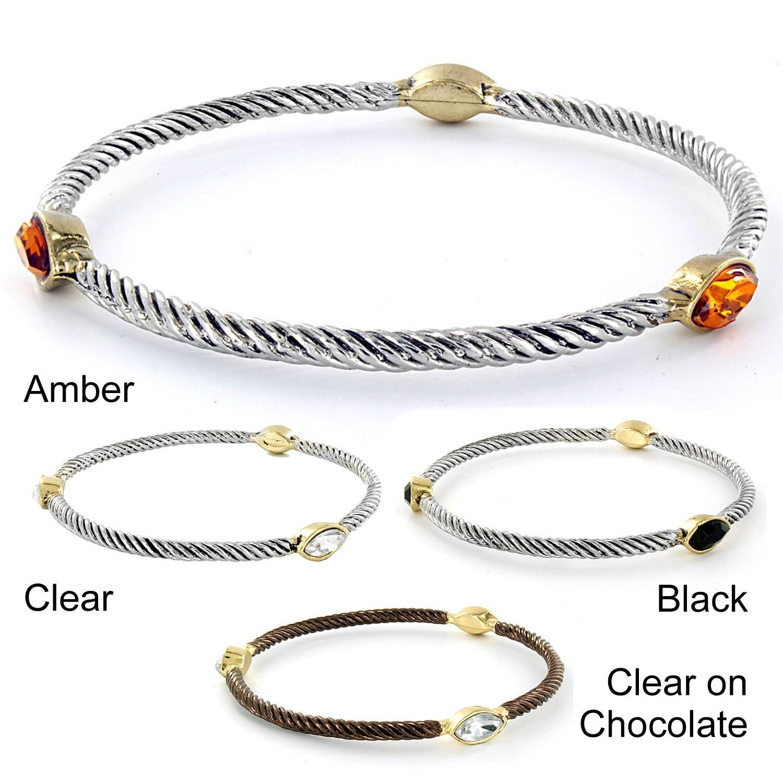 Two-tone Marquise-shaped Crystal Twist Wrapped Bangle Bracelet