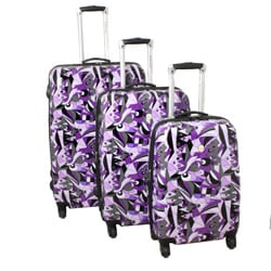 Abstract Dreams 3-piece Purple Lightweight Expandable Hardside Spinner Luggage Set