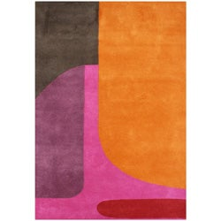 Alliyah Hand Made Tufted Flame Orange New Zealand Blend Wool Rug (5' x 8')