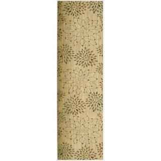 Nourison Liz Claiborne Radiant Impression Scatter Bloom Beige Rug  (2'3 x 8')