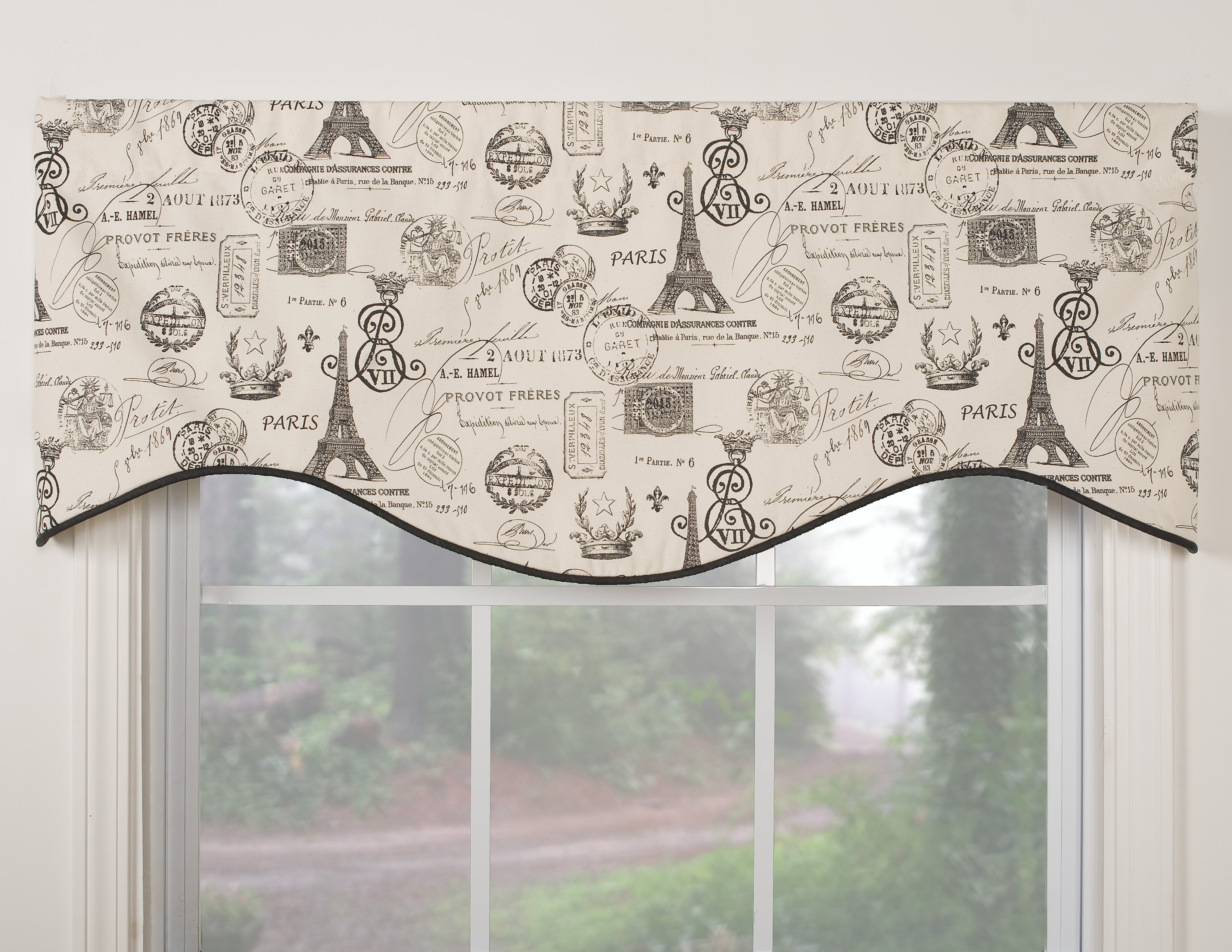 Paris-themed M-shaped Window Valance