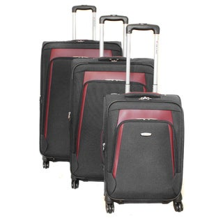 Dejuno Alliance Black 3-piece Expandable Spinner Luggage Set