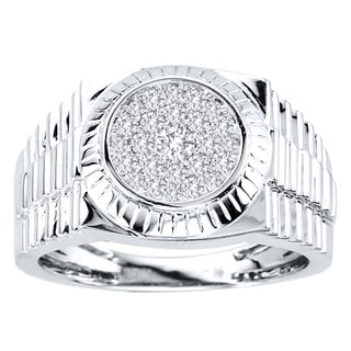 De Couer 10k White Gold Men's 1/2ct TDW Diamond Ring (H-I, I2-I3)