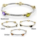 Two-tone Oval-cut Crystal Twist Wrapped Bangle Bracelet