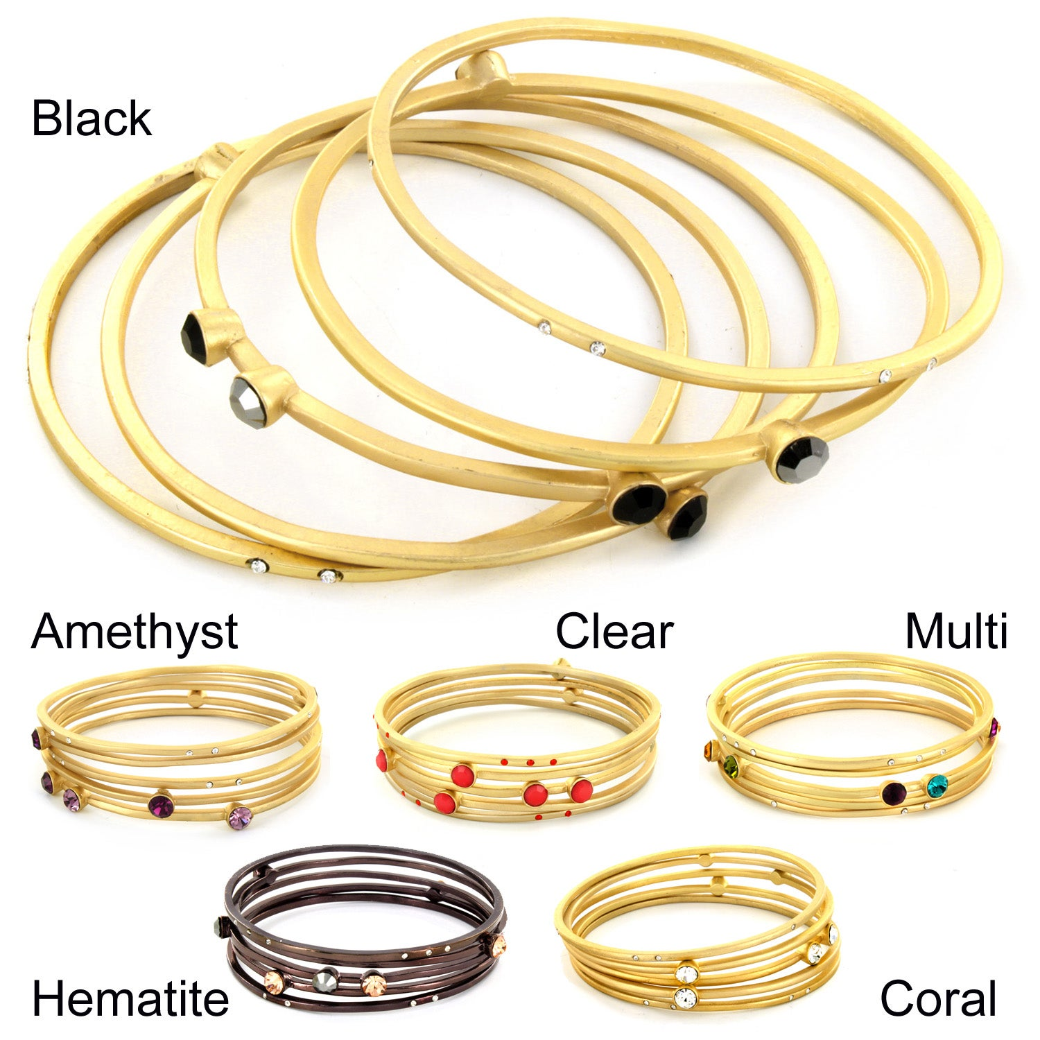 Plated Colored and Clear Crystal 5-piece Bangle Set
