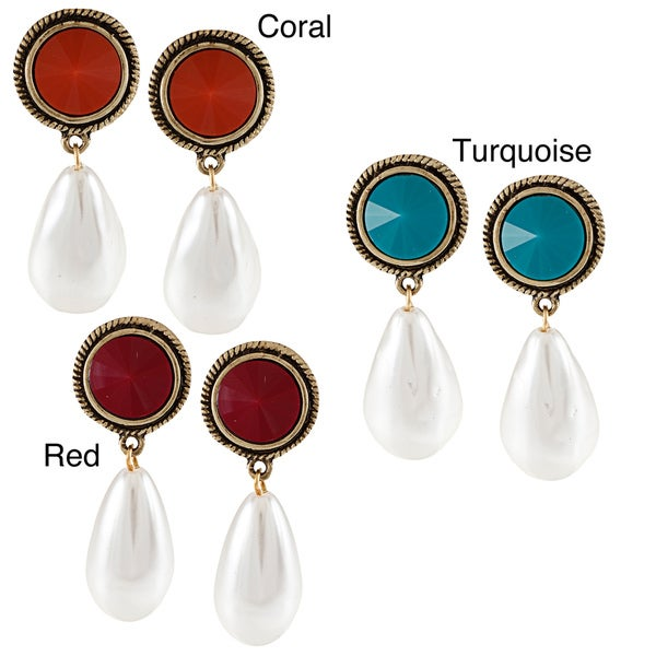 Kenneth Jay Lane Goldtone Color Resin and Pearl Drop Earrings