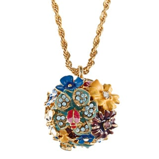 Kenneth Jay Lane Goldtone Crystal Flower Ball Pendant Necklace