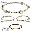 West Coast Jewelry Two-tone Alternating Round-cut Crystal Twist Wrapped Bangle Bracelet