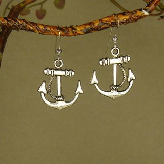 Antique Silver Colored Anchor Earrings