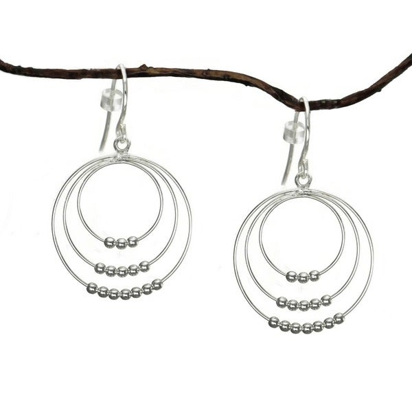 Jewelry by Dawn Triple Beaded Hoops Sterling Silver Earrings 9750955