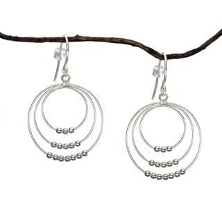 Jewelry by Dawn Triple Beaded Hoops Sterling Silver Earrings