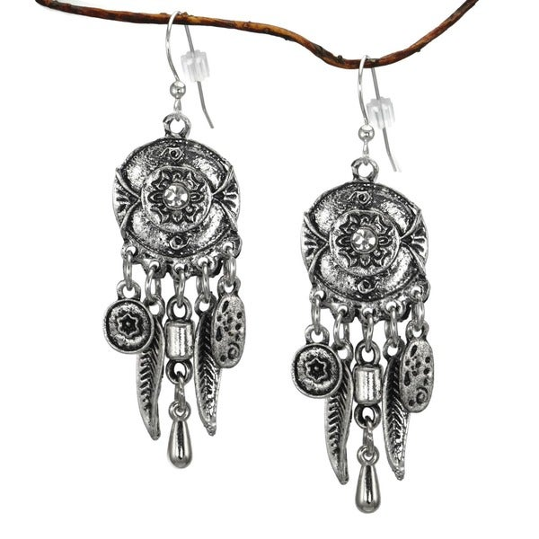 Handmade Jewelry by Dawn Long Chandelier Antique Pewter Colored Earrings (USA) - Silver 9750957