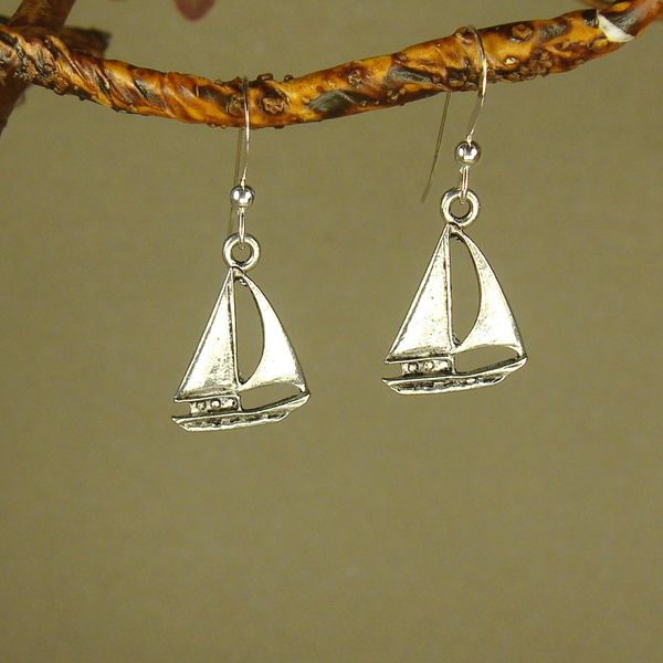 Handmade Jewelry by Dawn Pewter Sailboat Earrings - Silver 9750958