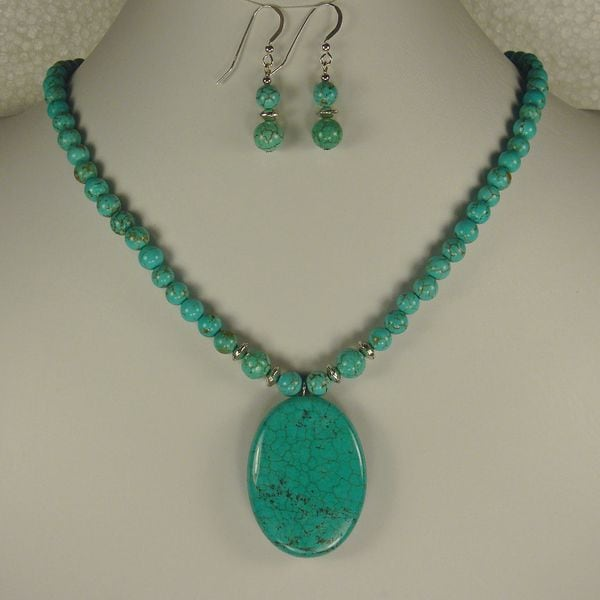 Jewelry by Dawn Turquoise Magnesite Necklace And Earring Set