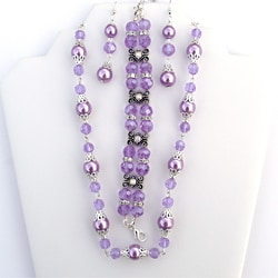 30-inch Lavender Pearl and Alexandrite Crystal Jewelry Set