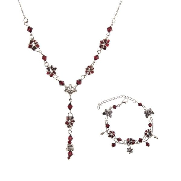 Tibetan Silver Garnet Necklace and Bracelet Set (China)
