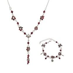 Tibetan Silver Garnet Necklace and Bracelet Set (China)