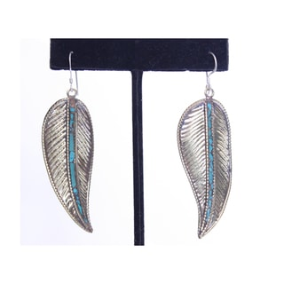 Brass and Sterling Silver Turquoise Small Feather Desing Earrings (Nepal)