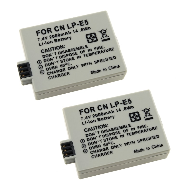 BasAcc Battery Compatible with Canon LP-E5/ EOS Digital Rebel T1i (Pack of 2)