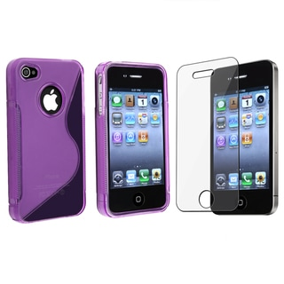 BasAcc Purple TPU Rubber Case/ Screen Protector for Apple iPhone 4/ 4S