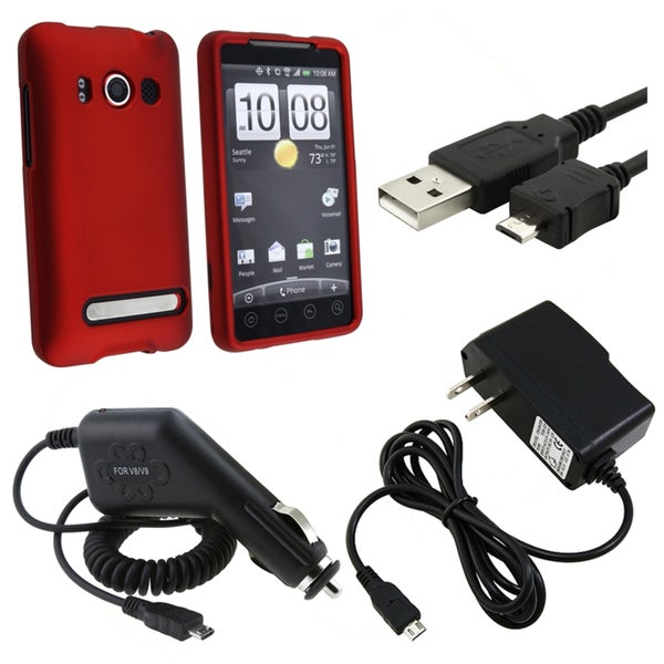 BasAcc Red Case/ Car Charger/ Travel Charger/ Cable/ for HTC EVO 4G