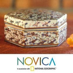 Benjarong Porcelain 'Elegant Thai Hexagon' Decorative Box (Thailand)