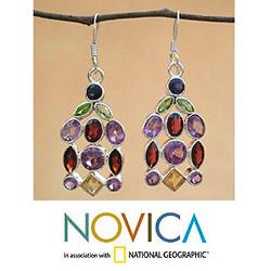 Sterling Silver 'Color Cascade' Multi-gemstone Earrings (India)