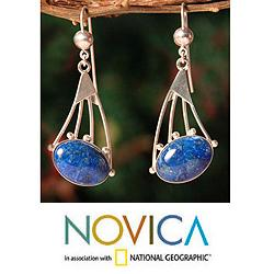 Sterling Silver 'Inca Comets' Lapis Lazuli Dangle Earrings (Peru)