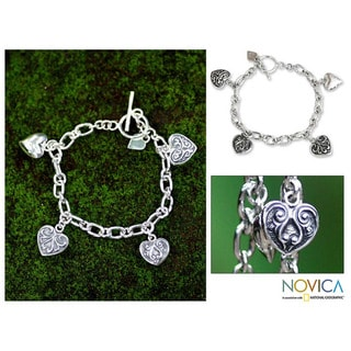Sterling Silver 'My Heart' Bracelet (Indonesia)