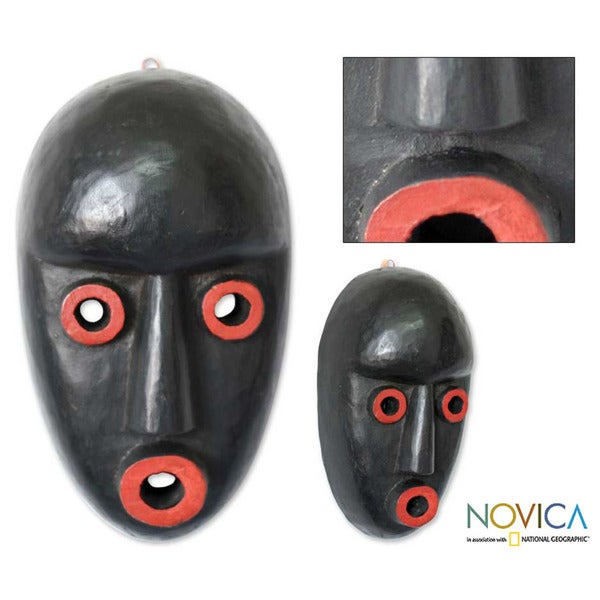 Handcrafted Sese Wood 'Boy's Initiation' African Mask (Ghana)