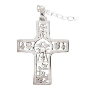 """Handmade Sterling Silver 'Cross of Life' Cross Necklace (Mexico) - 7'6"""" x 9'6"""""""