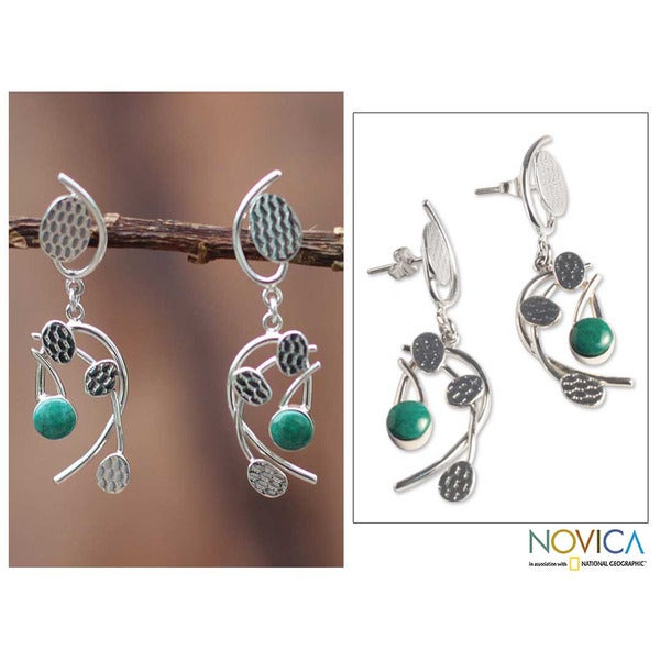 Sterling Silver 'Windblown Leaves' Chrysocolla Earrings (Peru)