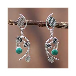 Sterling Silver 'Windblown Leaves' Chrysocolla Earrings (Peru)