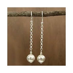 Sterling Silver 'Delhi Moon' Earrings (India)
