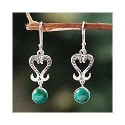 Sterling Silver 'Cuzco Wisdom' Chrysocolla Heart Earrings (Peru)