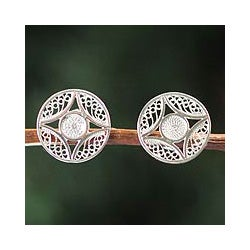 Silver Handcrafted 'Harvest Moon' Filigree Earrings (Peru)
