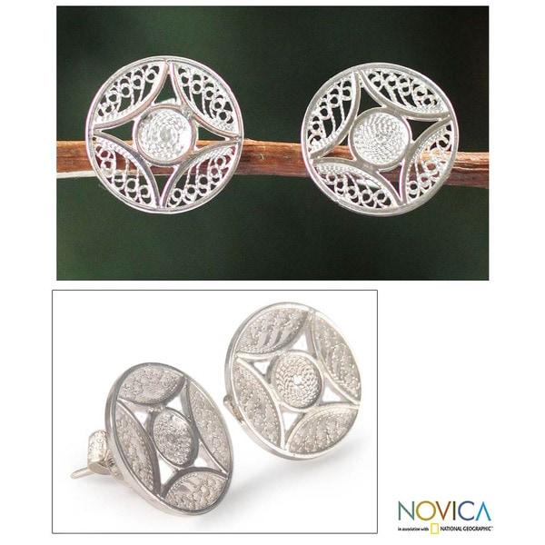 Silver Handcrafted 'Harvest Moon' Filigree Earrings (Peru) 9751152