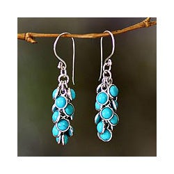 Sterling Silver 'Madakaripura Delight' Turquoise Earrings (Indonesia)