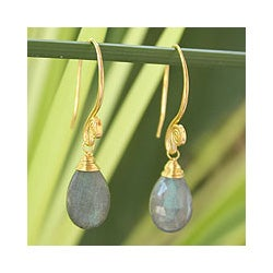 Gold Overlay 'Subtle' Labradorite Earrings (Thailand)