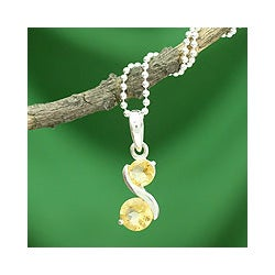 Sterling Silver 'Twin Souls' Citrine Necklace (India)
