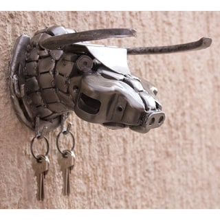 Auto Parts Handcrafted 'Rustic Bull' Key Rack (Mexico)