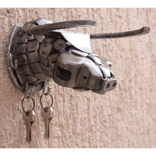 Auto Parts Handcrafted 'Rustic Bull' Key Rack , Handmade in Mexico